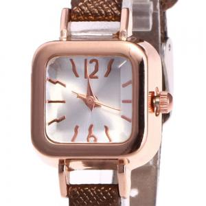 Faux Leather Strap Montre carrée - Brun