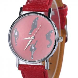 Michael Jackson Pattern Faux Leather Strap Watch - Rouge