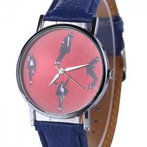 Michael Jackson Pattern Faux Leather Strap Watch - Bleu