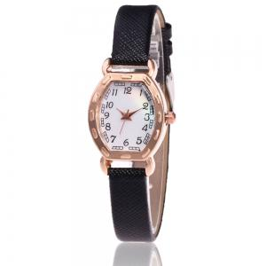 Faux Leather Band Number Watch - Black