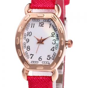 Faux Leather Band Number Watch - RED