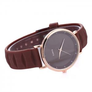Silicone Strap Minimalist Round Watch - BROWN