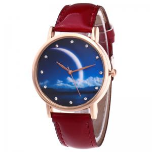 Night View Face Faux Leather Strap Rhinestone Watch - Red - S