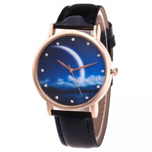 Night View Face Faux Leather Strap Rhinestone Watch