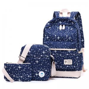 Star Print 3 Pieces Canvas Backpack Set - Deep Blue