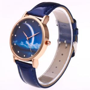 Night View Face Faux Leather Strap Rhinestone Watch -