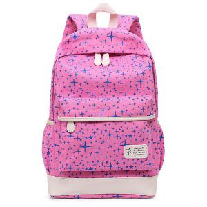 Star Print 3 Pieces Canvas Backpack Set - PINK