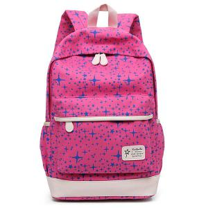 Star Print 3 Pieces Canvas Backpack Set - ROSE RED