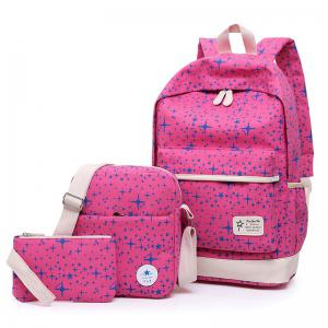 Star Print 3 Pieces Canvas Backpack Set - Rose Red - 38