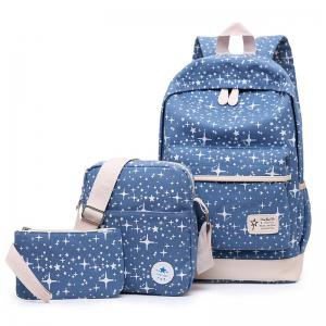 Star Print 3 Pieces Canvas Backpack Set - Blue - 39