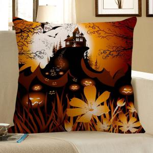 Pumpkin Face Floral Pattern Square Pillow Case