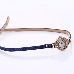 Rhinestone Sun Shape Wrap Bracelet Watch - BLUE