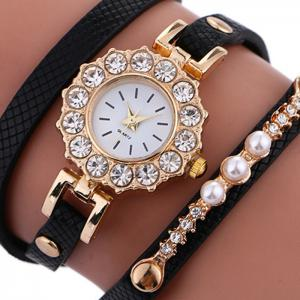 Rhinestone Sun Shape Wrap Bracelet Watch - BLACK