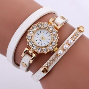 Rhinestone Sun Shape Wrap Bracelet Watch