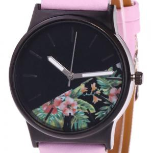 Faux Leather Strap Flower Plants Face Watch - PINK
