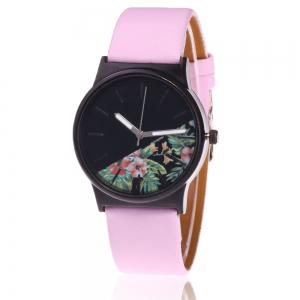 Faux Leather Strap Flower Plants Face Watch