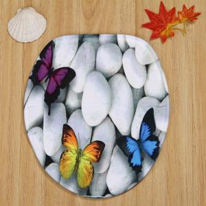 Butterfly Cobblestone Pattern 3Pcs Toilet Mats Set -