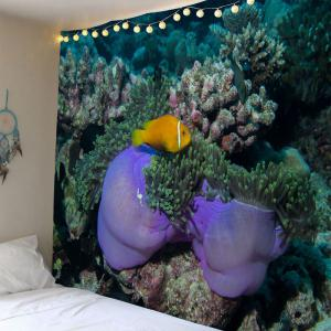 Underwater World Coral Fish Waterproof Wall Tapestry - Light Blue - W79 Inch * L59 Inch
