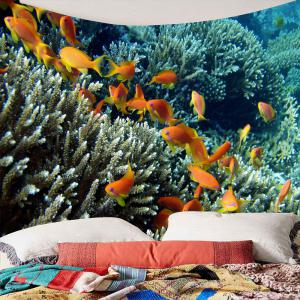Underwater World Fish Shoals Corals Waterproof Tapestry - Colorful - W59 Inch * L59 Inch