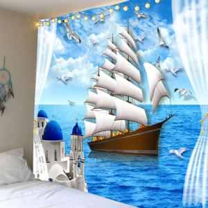 Seascape Sailing Boat Waterproof Wall Tapestry
