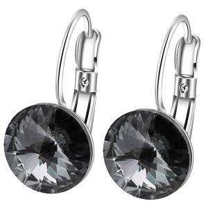 Faux Diamond Drop Clip Earrings - Black - L