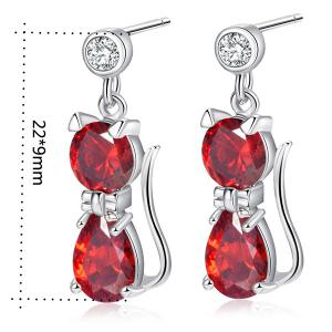 Cat Design Faux Diamond Inlaid Drop Earrings - BRIGHT RED