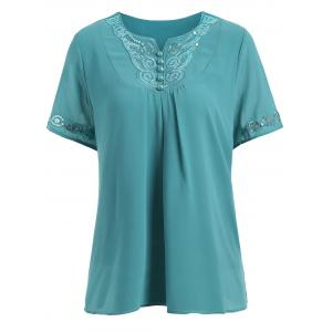 Plus Size Short Sleeve Sequin Chiffon Top