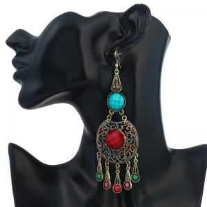Faux Gem Insert Ethnic Fish Hook Earrings -