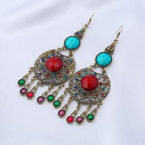 Faux Gem Insert Ethnic Fish Hook Earrings