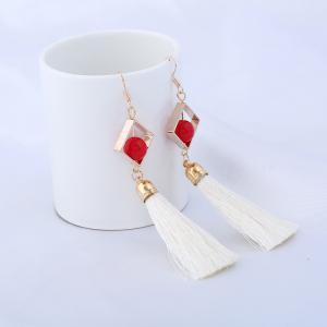 Hollow Rhombus Tassel Pendant Fish Hook Earrings - White