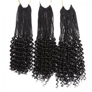 Long Crochet Pre Twisted Flashy Curl Braids Hair Extensions - BLACK 16INCH