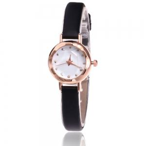 Faux Leather Strap Simple Roundel Watch - Black