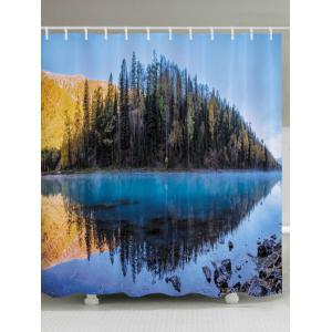 Lakeside Forest Print Fabric Waterproof Bathroom Shower Curtain