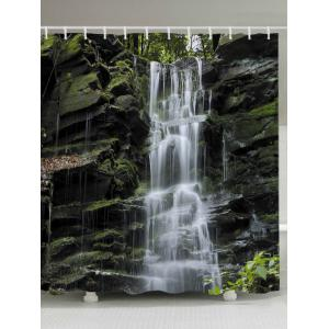 Stone Falls Print Fabric Waterproof Bathroom Shower Curtain - White - W71 Inch * L79 Inch