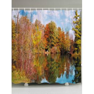 Forest Lake Print Fabric Waterproof Bathroom Shower Curtain - Citrus - W71 Inch * L79 Inch