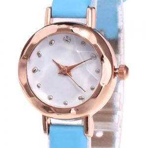 Faux Leather Strap Simple Roundel Watch - AZURE