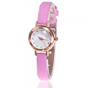 Faux Leather Strap Simple Roundel Watch - Pink