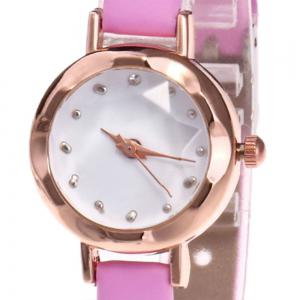 Faux Leather Strap Simple Roundel Watch - ROSE PÂLE