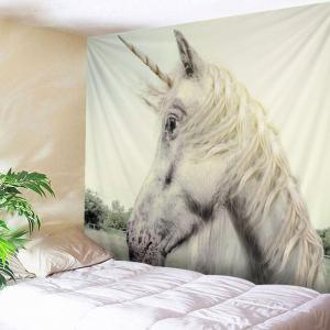 Unicorn Face Print Tapestry Wall Hanging Art Decoration - White - W79 Inch * L59 Inch