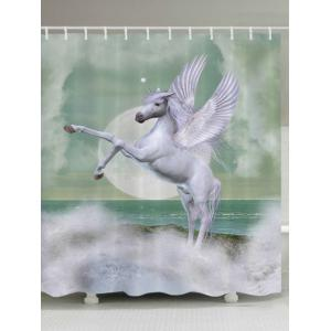 Winged Unicorn Print Fabric Waterproof Bathroom Shower Curtain - White - W71 Inch * L79 Inch
