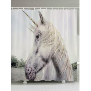 Unicorn Face Print Fabric Waterproof Bathroom Shower Curtain - White - W71 Inch * L79 Inch