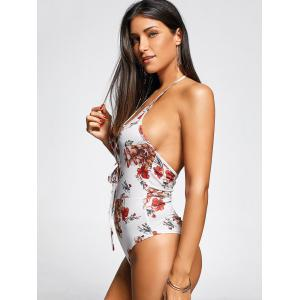 Lace Up Front One Piece Flower Swimsuit - WHITE S
