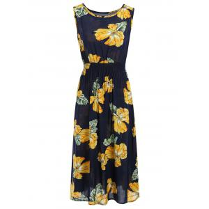 Handpainted Flower Elastic Waist Sleeveless Maxi Dress - Colormix - One Size