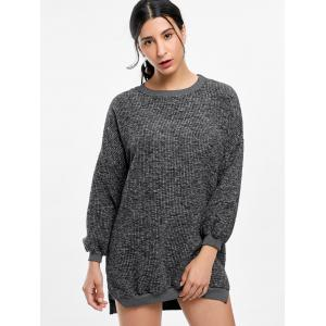 Crew Neck Ribbed Mini Casual Sweater Dress - GRAY ONE SIZE