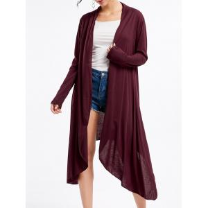 Open Front High Low Cardigan - Wine Red - S