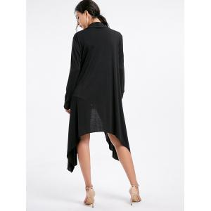 Open Front High Low Cardigan - BLACK XL