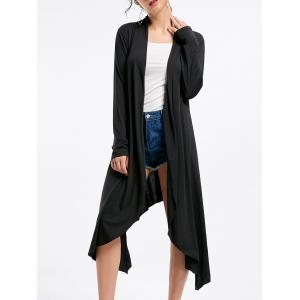 Open Front High Low Cardigan - Black - L