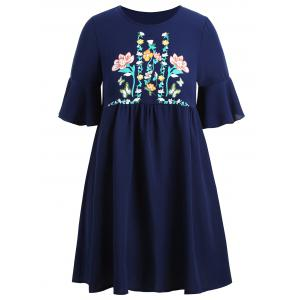 Plus  Size Flare Sleeve Floral Tunic Top