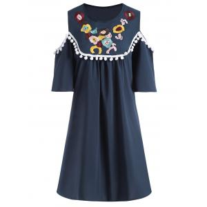 Plus Size Cold Shoulder Floral Embroidered Dress - Purplish Blue - 4xl