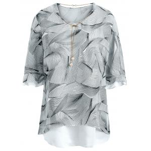 Chain Insert Printed Chiffon Plus Size Top
